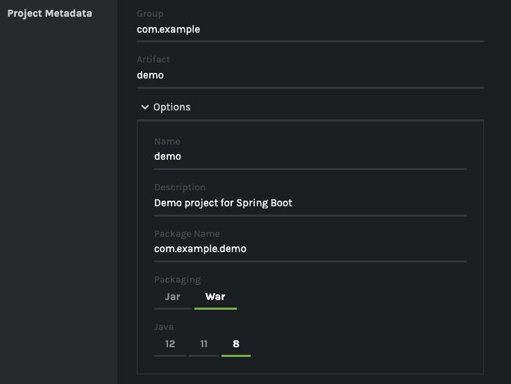 Schermata pagina Spring initializr