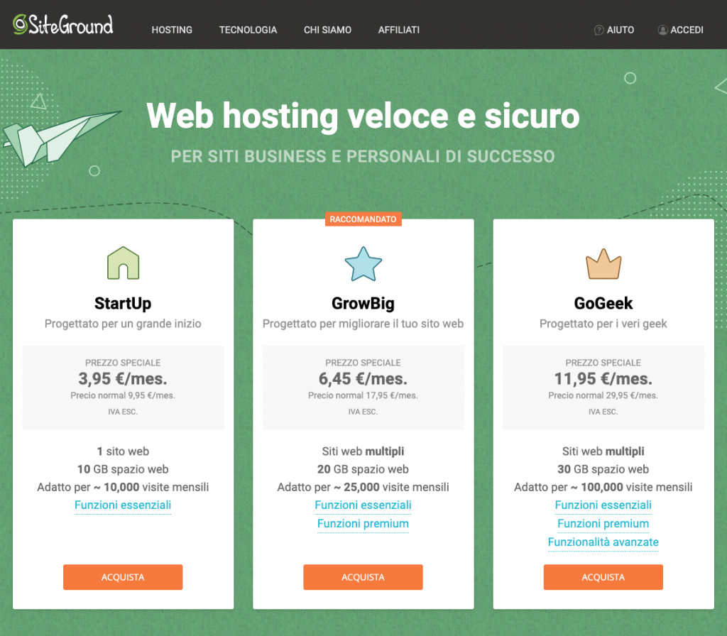 SiteGround piani hosting