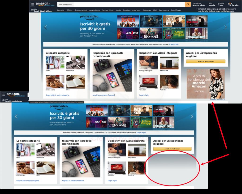Comparazione homepage Amazon.it in Brave e Chrome